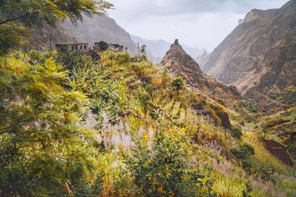 Santo Antao, Cape Verde. Hiking trail path leading between mountains into Xo-Xo valley with scenic - Stock Photo - Images
