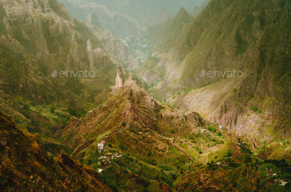Mountain peak in Xo-Xo valley at Santo Antao island in Cape Verde - Stock Photo - Images