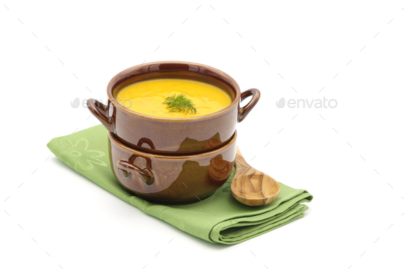 Carrot Dill Soup Bowls - Stock Photo - Images