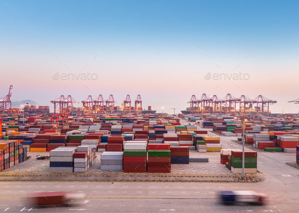 container port at dusk - Stock Photo - Images