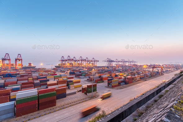 container port in nightfall - Stock Photo - Images