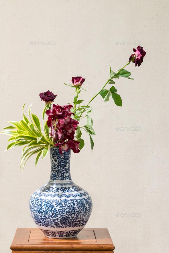 beautiful oriental style flower arrangement - Stock Photo - Images