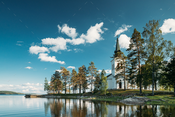 Tocksfors, Sweden. Stommen Church In Sunny Summer Day. Local Landmark - Stock Photo - Images