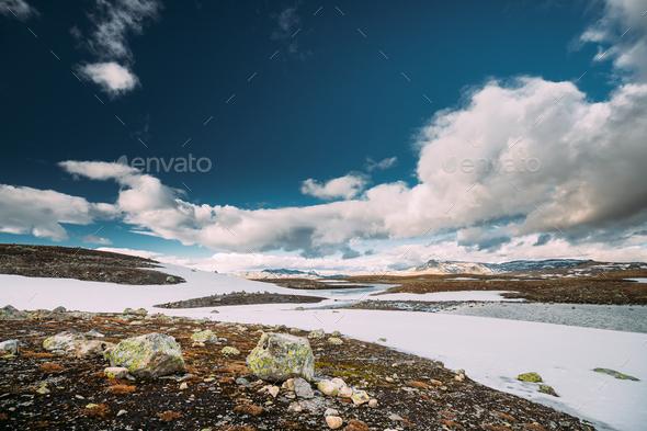 Aurlandsfjellet, Norway. Summer Norwegian Landscape Near Aurlandsfjellet Road. - Stock Photo - Images