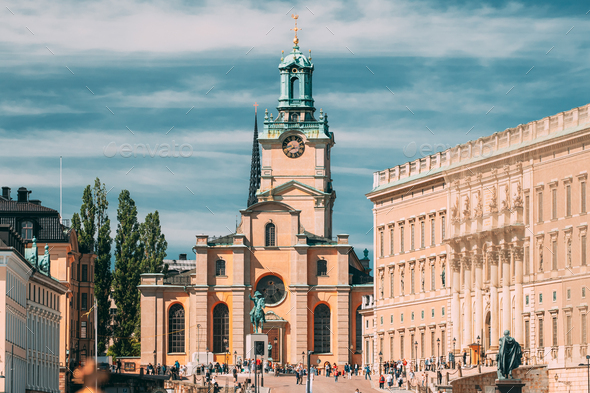 Stockholm, Sweden. Scenic View Of Stockholm Old Town. Great Church - Stock Photo - Images
