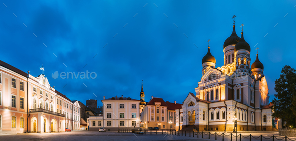 Tallinn, Estonia. Building Of Government Of Republic Of Estonia And Alexander Nevsky Cathedral. - Stock Photo - Images