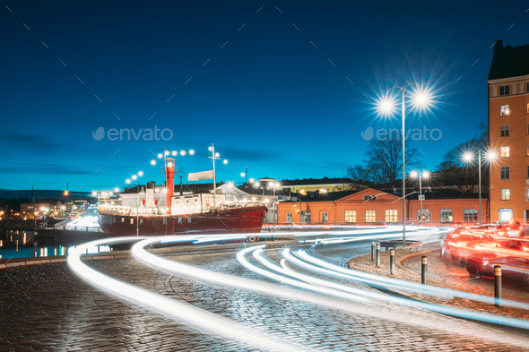 Helsinki, Finland. View Of Pohjoisranta Street In Evening Or Night Illumination - Stock Photo - Images