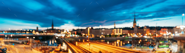 Stockholm, Sweden. Night Skyline Abstract Boke Bokeh - Stock Photo - Images