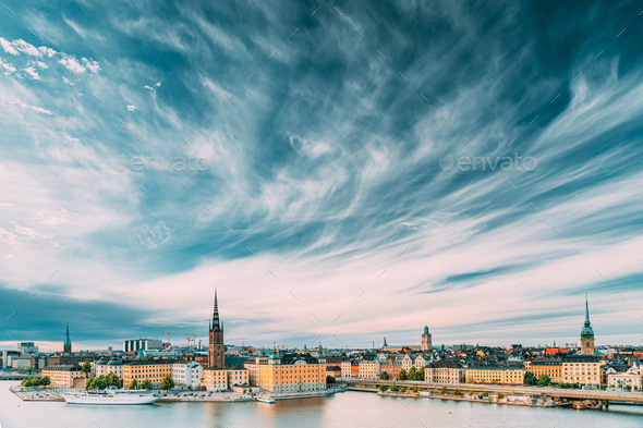Stockholm, Sweden. Scenic Famous View Of Embankment In Old Town Of Stockholm At Summer. - Stock Photo - Images
