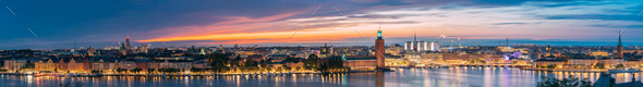 Stockholm, Sweden. Night Skyline With Famous Landmarks. Panorama, - Stock Photo - Images