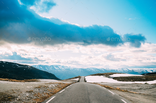 Aurlandsfjellet, Norway. Open Road Aurlandsfjellet. Scenic Route Road - Stock Photo - Images