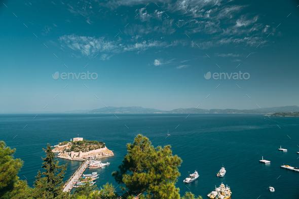 Kusadasi, Aydin Province, Turkey. Top View Of The Pigeon Island. - Stock Photo - Images