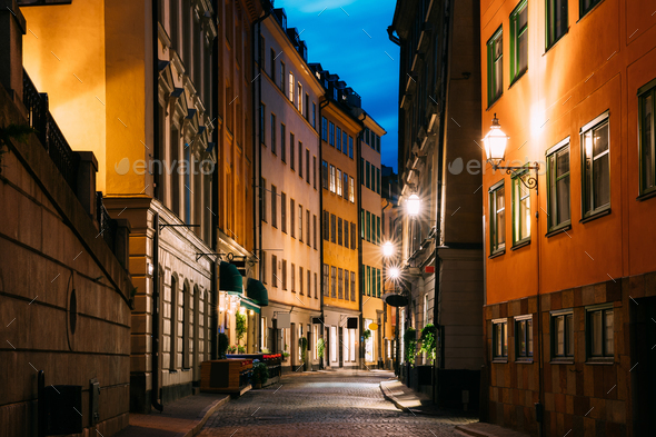 Stockholm, Sweden. Night View Of Traditional Stockholm Street. - Stock Photo - Images