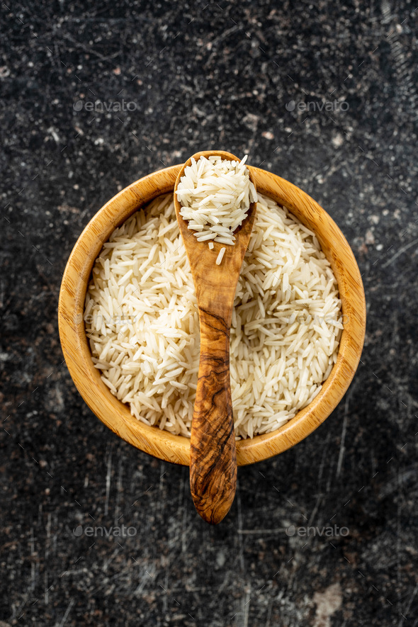 Uncooked indian long rice. - Stock Photo - Images