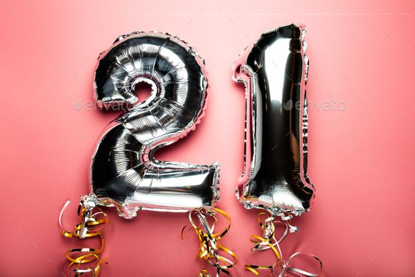 Balloon Bunting for celebration Happy 21th Anniversary - Stock Photo - Images