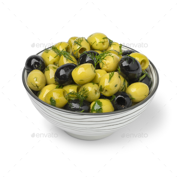 Bowl with green and black olives close up - Stock Photo - Images