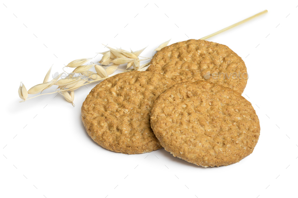 Heap of oat cookies - Stock Photo - Images