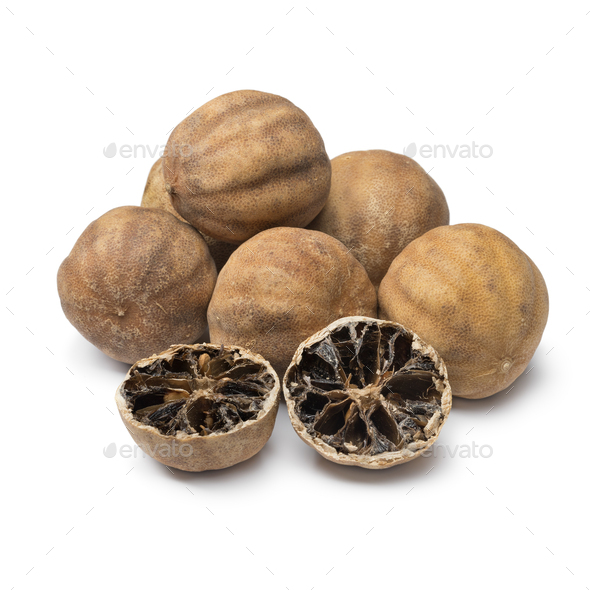 Whole and halved dried white limes - Stock Photo - Images