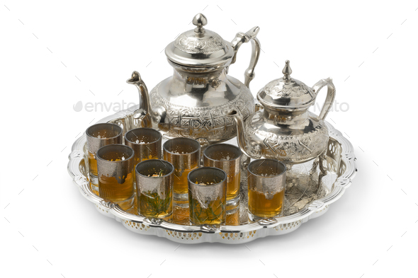 Moroccan tea with and without sugar and glasses with absinthium herb - Stock Photo - Images