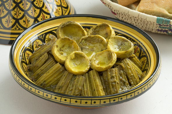 Moroccan meal with Cardoon and artichoke hearts - Stock Photo - Images