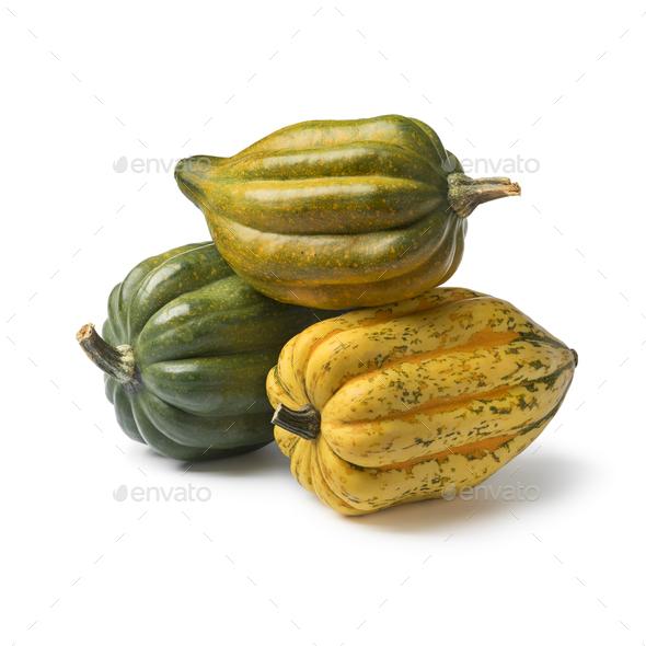 Fresh whole acorn squashes close up - Stock Photo - Images