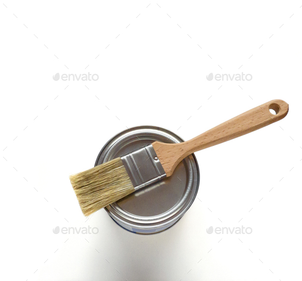 White paint with paint brush - Stock Photo - Images