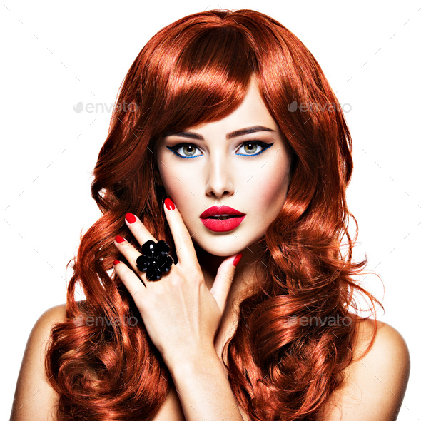 Beautiful sexy woman with long red hair. Fashion Portrait - Stock Photo - Images