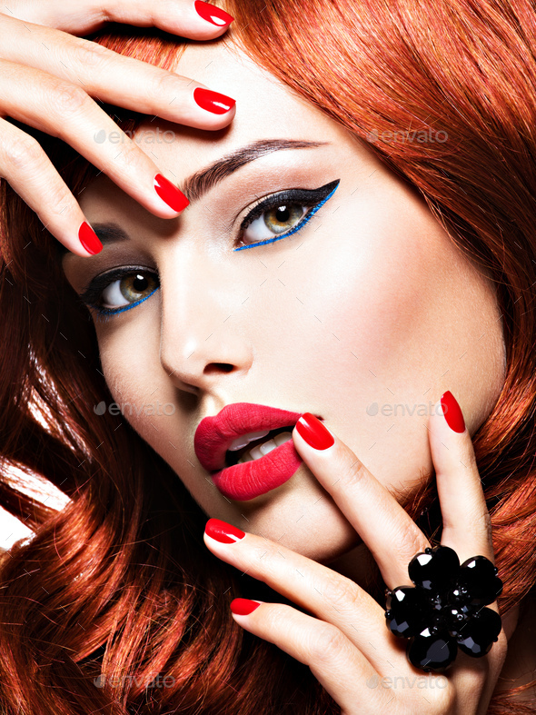 Beautiful sensual woman with  red nails. Fashion makeup. - Stock Photo - Images
