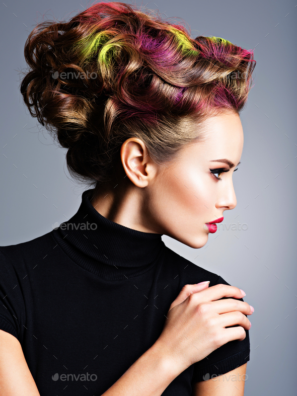 Model with a stylish hairstyle - Stock Photo - Images