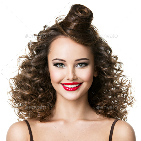 Beautiful woman with creative fashion hairstyle. - Stock Photo - Images
