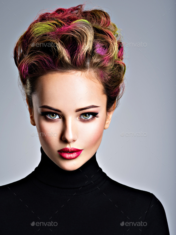 Beautiful woman with a stylish hairstyle - Stock Photo - Images