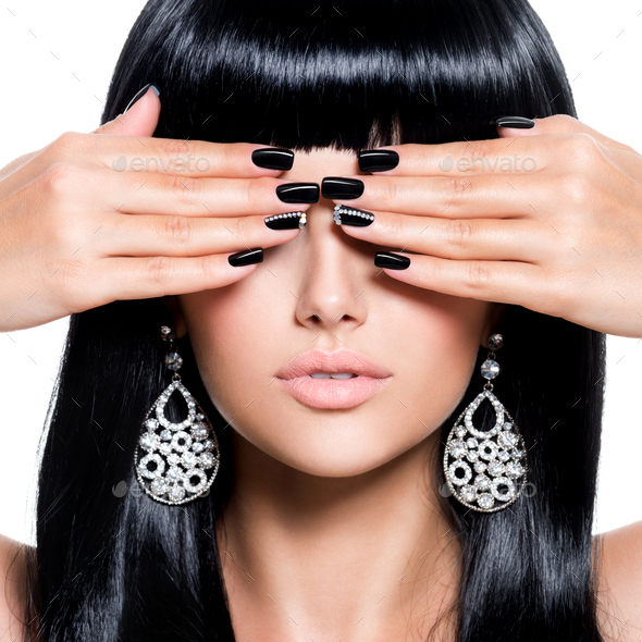 Beautiful woman with black nails - Stock Photo - Images