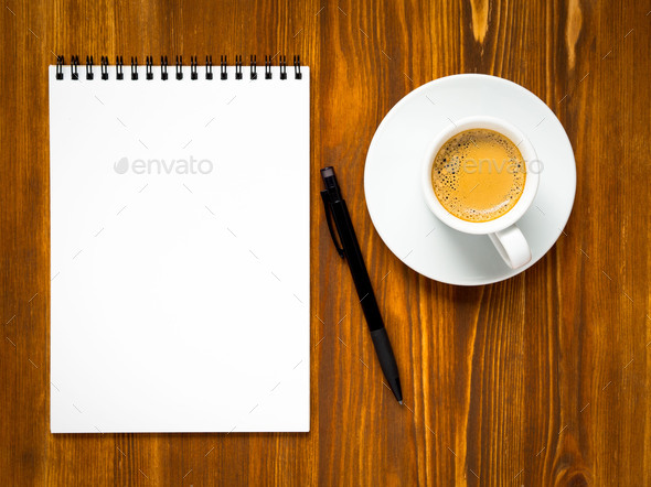 Notepad open with blank page for writing idea or to-do list - Stock Photo - Images