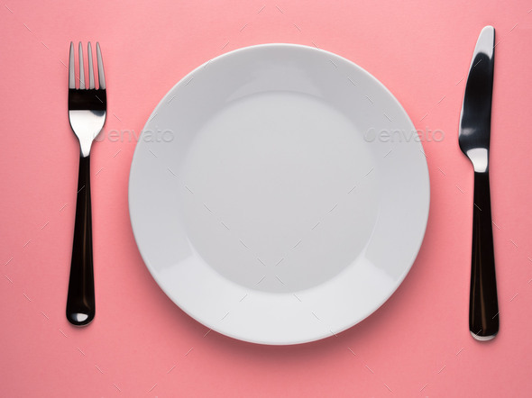 plate, fork, knife - Stock Photo - Images