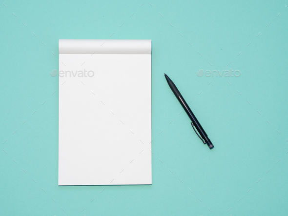 Top view workspace mockup on aqua background with open notebook and pen - Stock Photo - Images