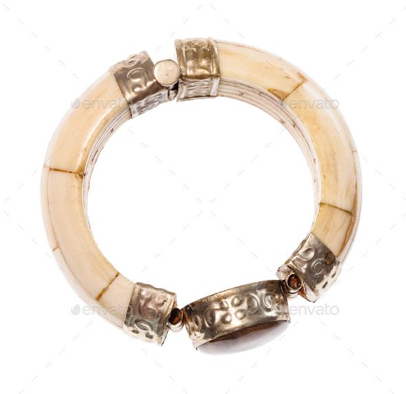 antique camel bone bracelet with stone insert - Stock Photo - Images