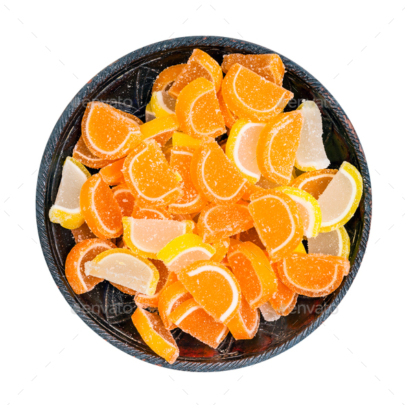 sugar lemon and orange marmalade in bowl isolated - Stock Photo - Images