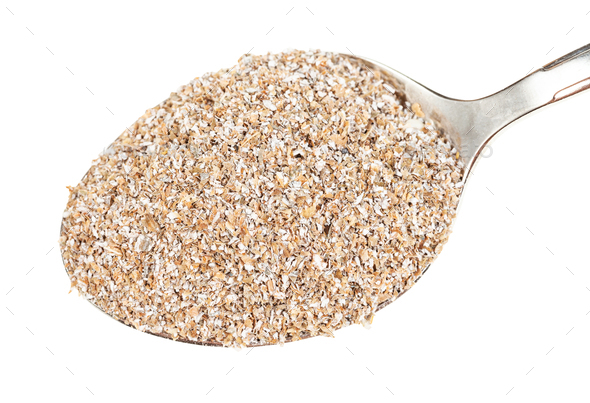 top view of spoon with rye bran close-up - Stock Photo - Images