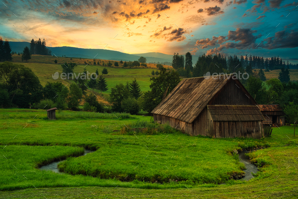 Wood cabin on the meadow - Stock Photo - Images