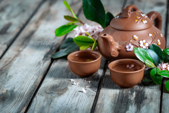 Tea and spring blossom background - Stock Photo - Images