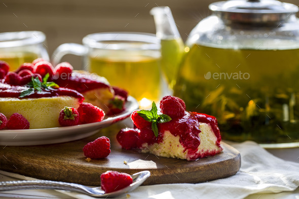 Cheesecake with raspberry sauce - Stock Photo - Images