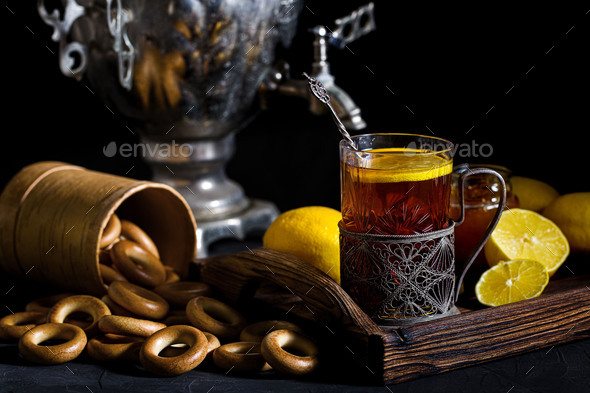 Russian tea from samovar - Stock Photo - Images
