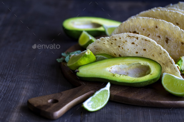 Chicken tacos with mango salsa background - Stock Photo - Images