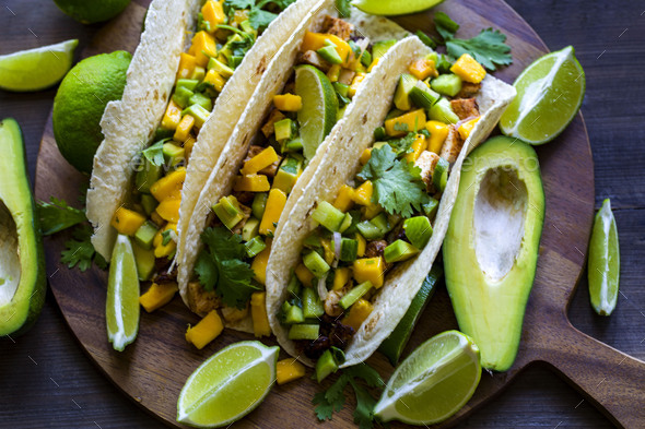 Chicken tacos with mango salsa - Stock Photo - Images