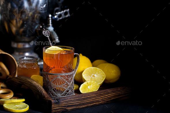 Russian tea from samovar background - Stock Photo - Images