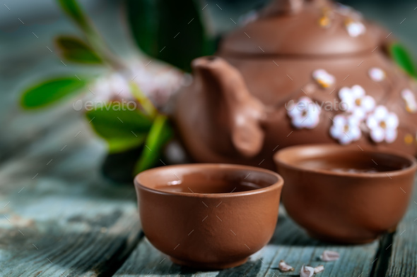 Tea and spring blossom - Stock Photo - Images