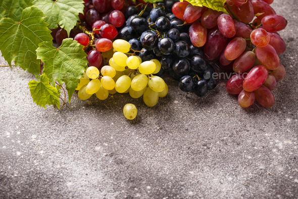 Assortment of different sort of grapes - Stock Photo - Images