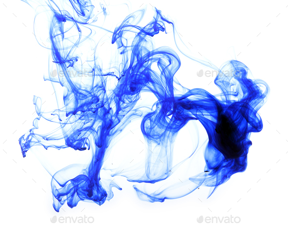 Abstract composition of blue ink - Stock Photo - Images