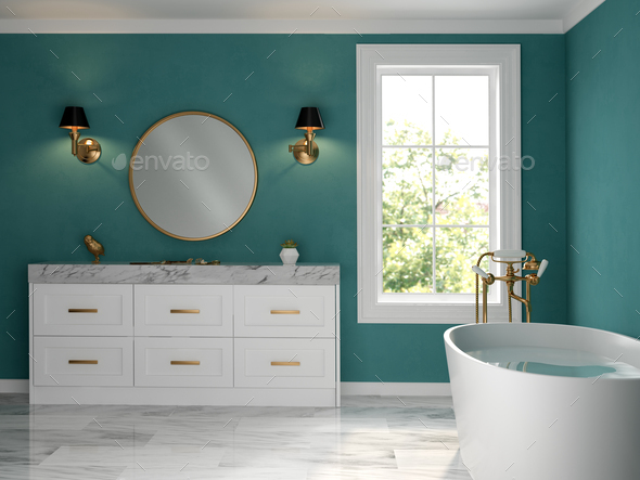 Interior bathroom classic style 3D rendering - Stock Photo - Images