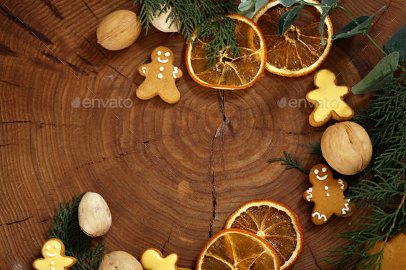 Wooden Christmas Background with Gingerbread - Stock Photo - Images